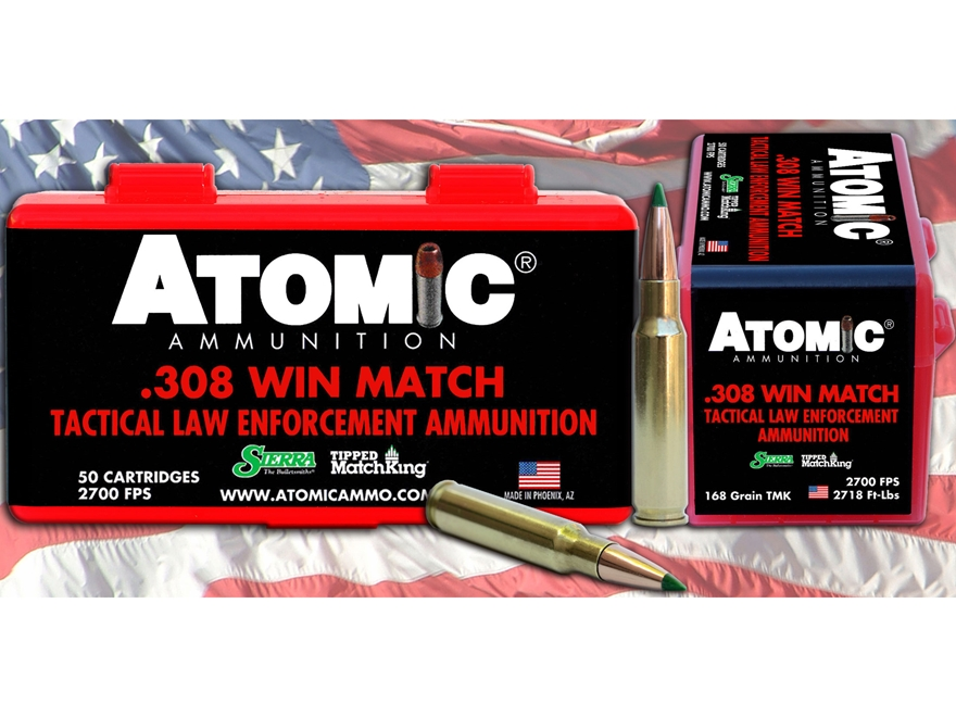 Atomic Tactical LE Ammunition 308 Winchester 168 Grain Sierra Tipped MatchKing (TMK)  B...