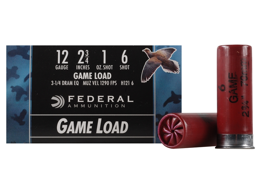 "Federal Game-Shok Game Load Ammunition 12 Gauge 2-3/4"" 1 oz #6 Shot Box of 25"