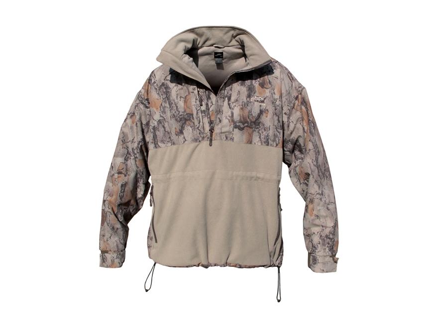 Natural Gear Mens Windproof Hybrid Half-Zip Fleece Jacket Long Sleeve Polyester