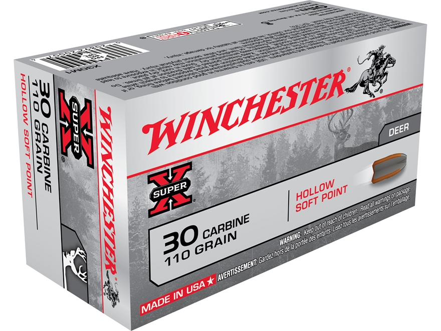 Winchester Super-X Ammunition 30 Carbine 110 Grain Hollow Soft Point Case of 500 (10 Bo...