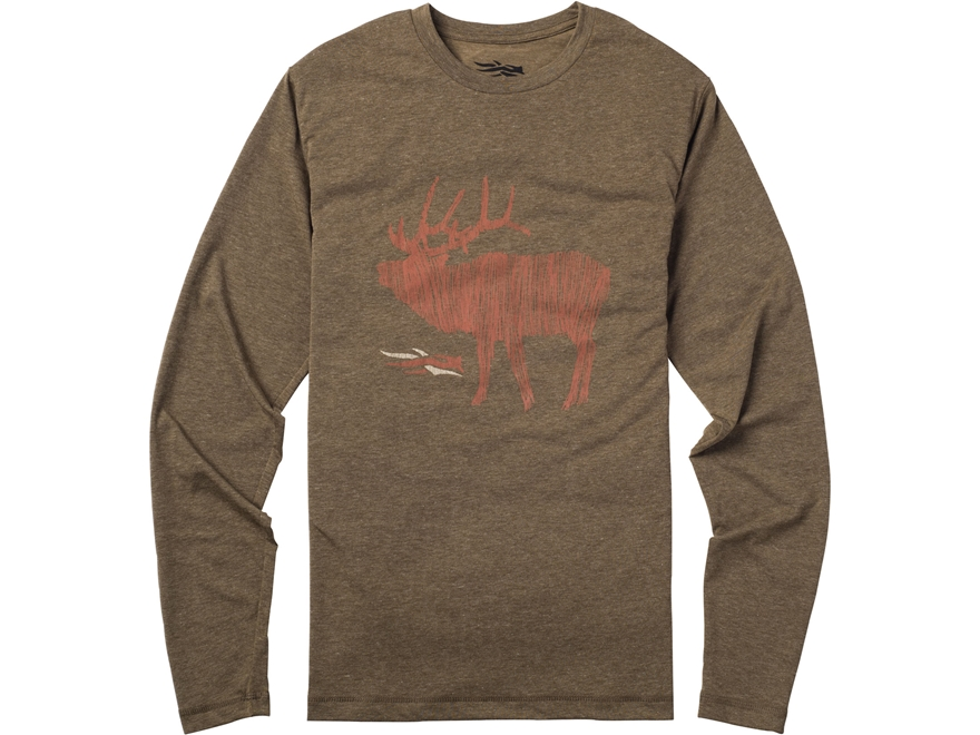Sitka Gear Men's Elk Sketch T-Shirt Long Sleeve Polyester and Cotton Blend Mud