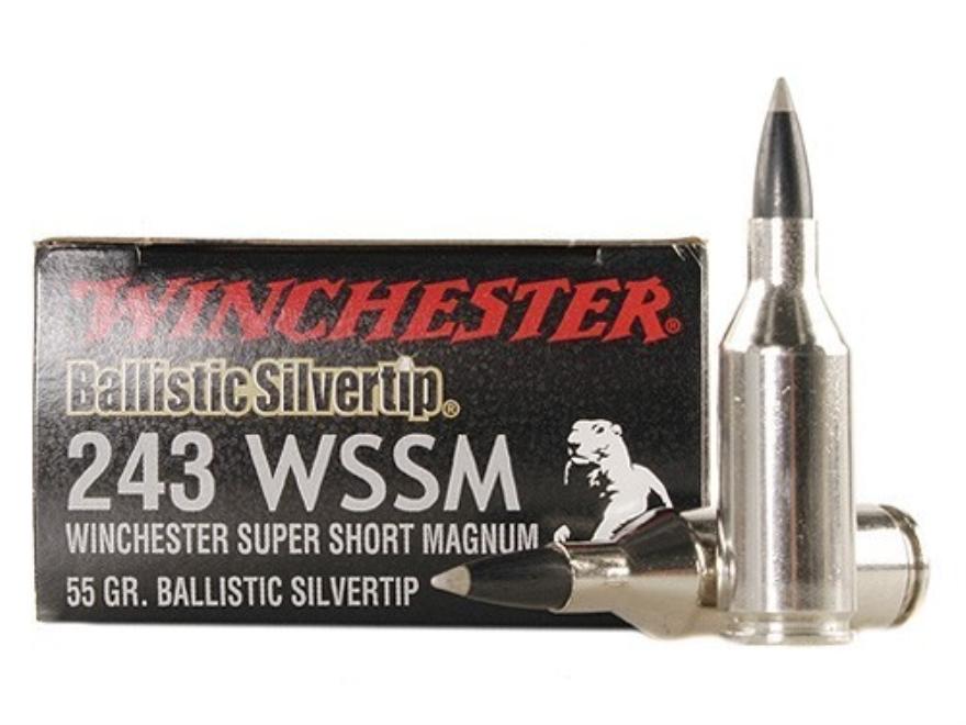 Winchester Ammunition 243 Winchester Super Short Magnum (WSSM) 55 Grain Ballistic Silve...