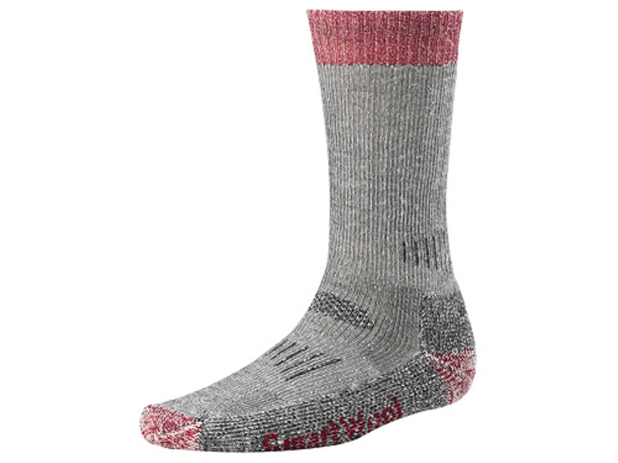 SmartWool Men's Hunting Heavyweight Crew Socks Wool Blend Charcoal and Red Large 9-11-1/2
