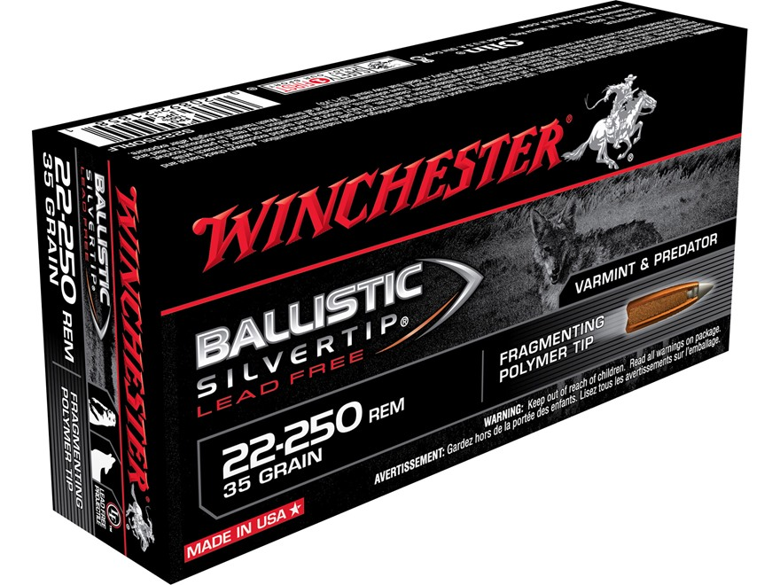 Winchester Ballistic Silvertip Varmint Ammunition 22-250 Remington 35 Grain Lead-Free F...