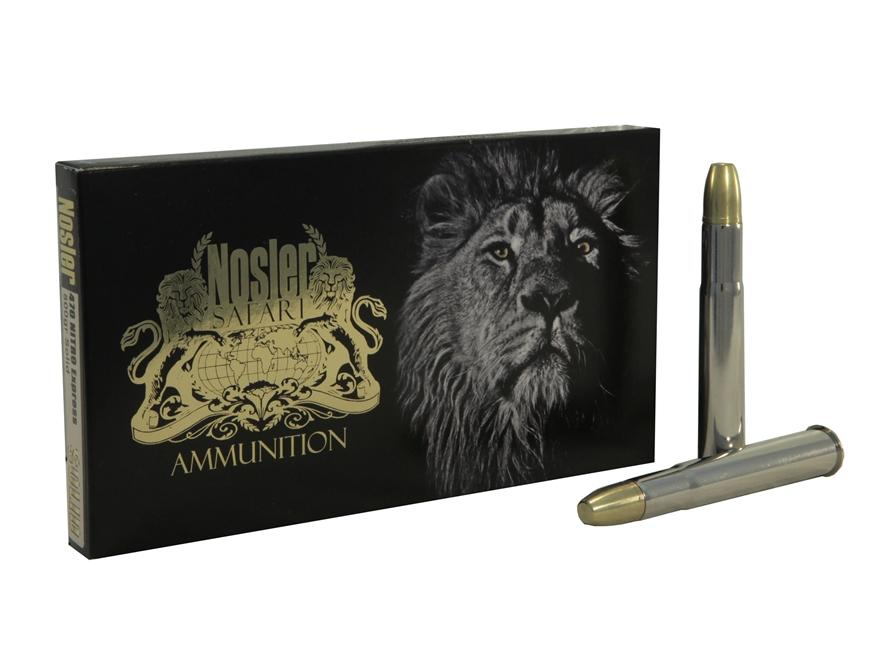 Nosler Safari Ammunition 470 Nitro Express 500 Grain Solid Box of 10
