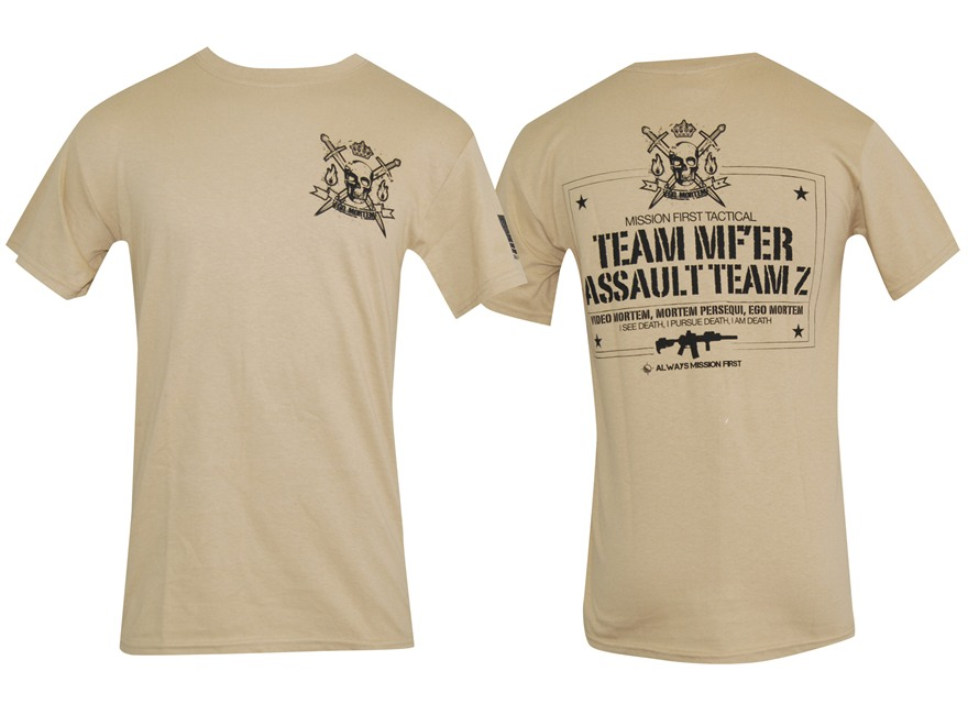 Mission First Tactical Zombie T-Shirt Short Sleeve Cotton Tan X-Large