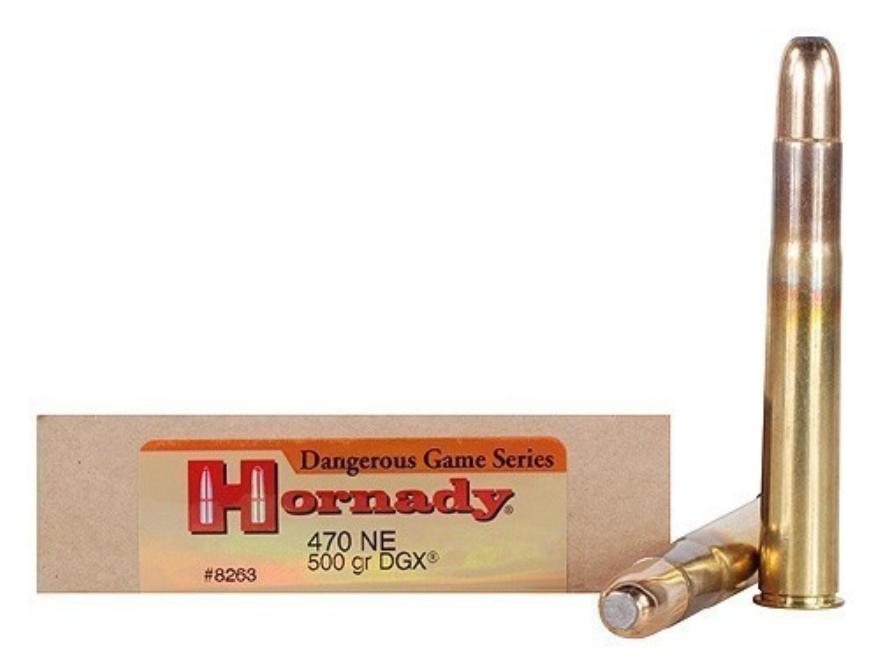 Hornady Dangerous Game Ammunition 470 Nitro Express 500 Grain DGX Flat Nose Expanding B...