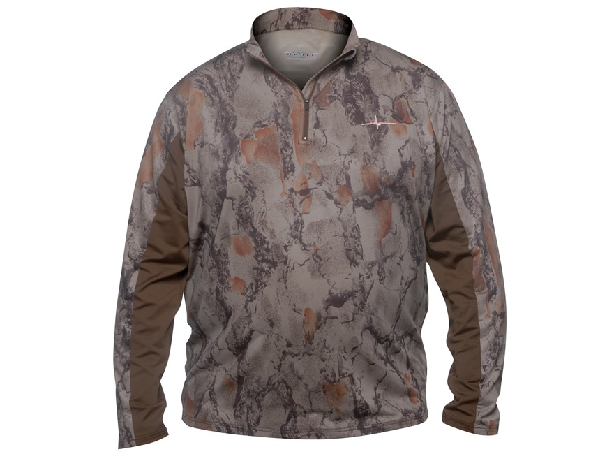 Natural Gear Men's Scent Factor 1/4 Zip Performance Shirt Long Sleeve Polyester Brown a...