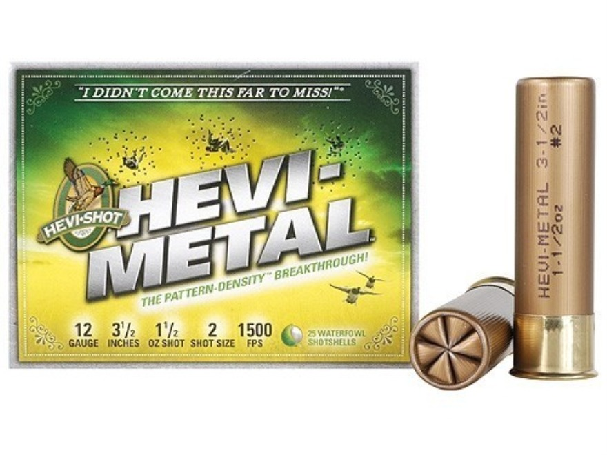 "Hevi-Shot Hevi-Metal Waterfowl Ammunition 12 Gauge 3-1/2"" 1-1/2 oz #2 Hevi-Metal Non-To..."