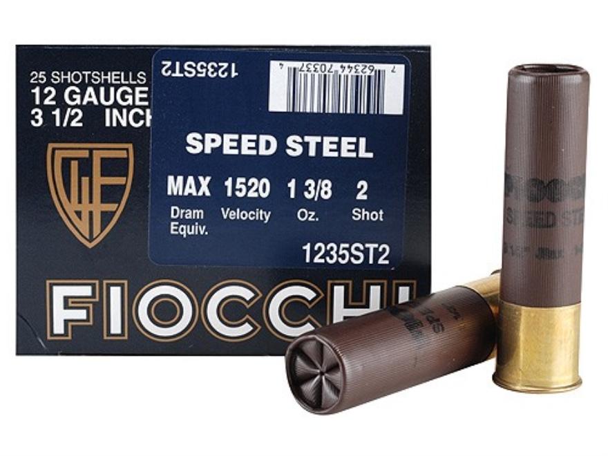 "Fiocchi Speed Steel Ammunition 12 Gauge 3-1/2"" 1-3/8 oz #2 Non-Toxic Steel Shot Box of 25"