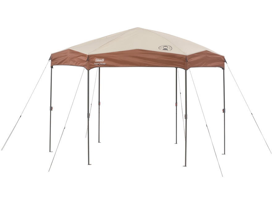 Coleman Instant Hexagon Straight Leg Shelter Polyester Brown and Tan