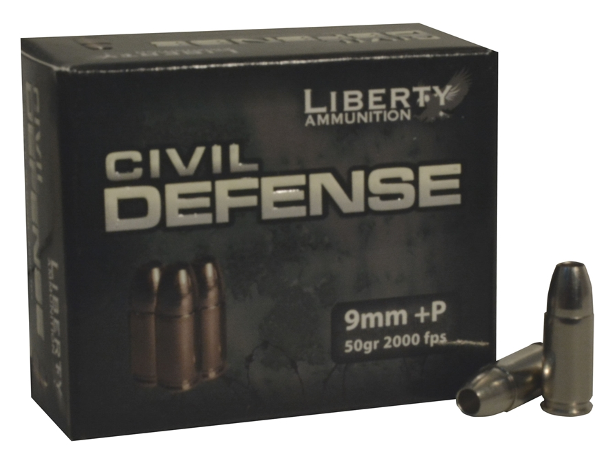 Liberty Civil Defense Ammunition 9mm Luger +P 50 Grain Fragmenting Hollow Point Lead-Fr...