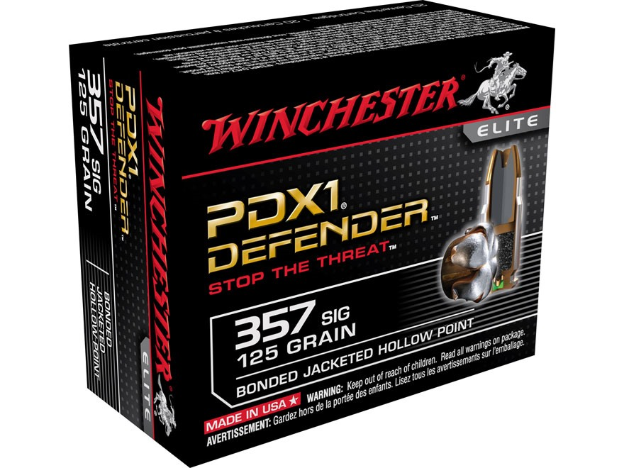 Winchester PDX1 Defender Ammunition 357 Sig 125 Grain Bonded Jacketed Hollow Point