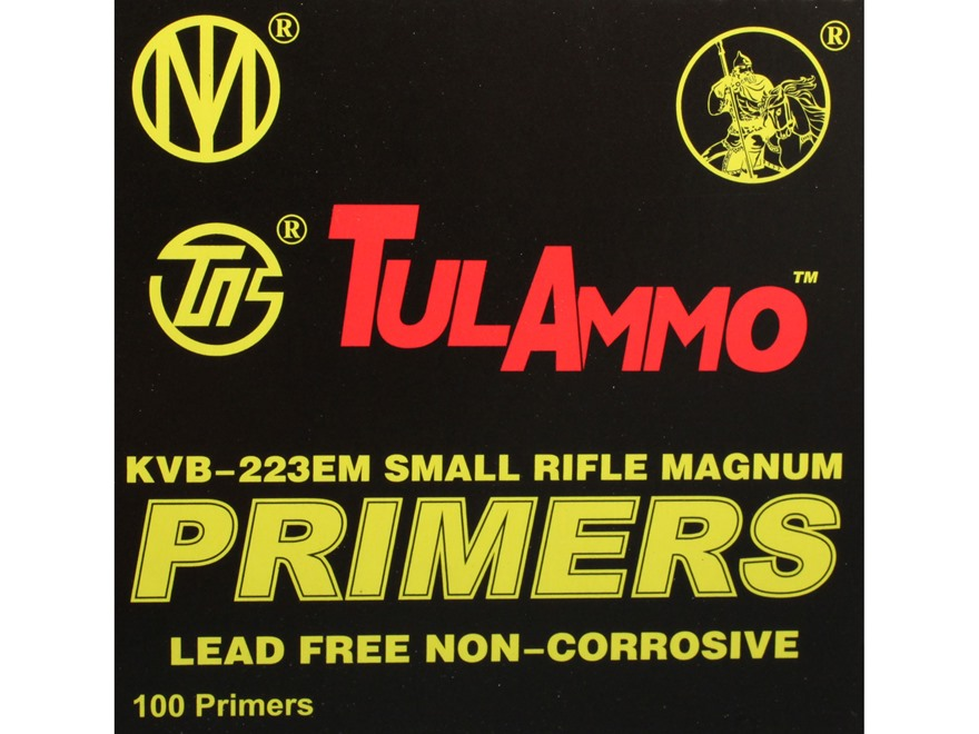 TulAmmo Small Rifle Magnum Primers Lead-Free Box of 1000 (10 Trays of 100)