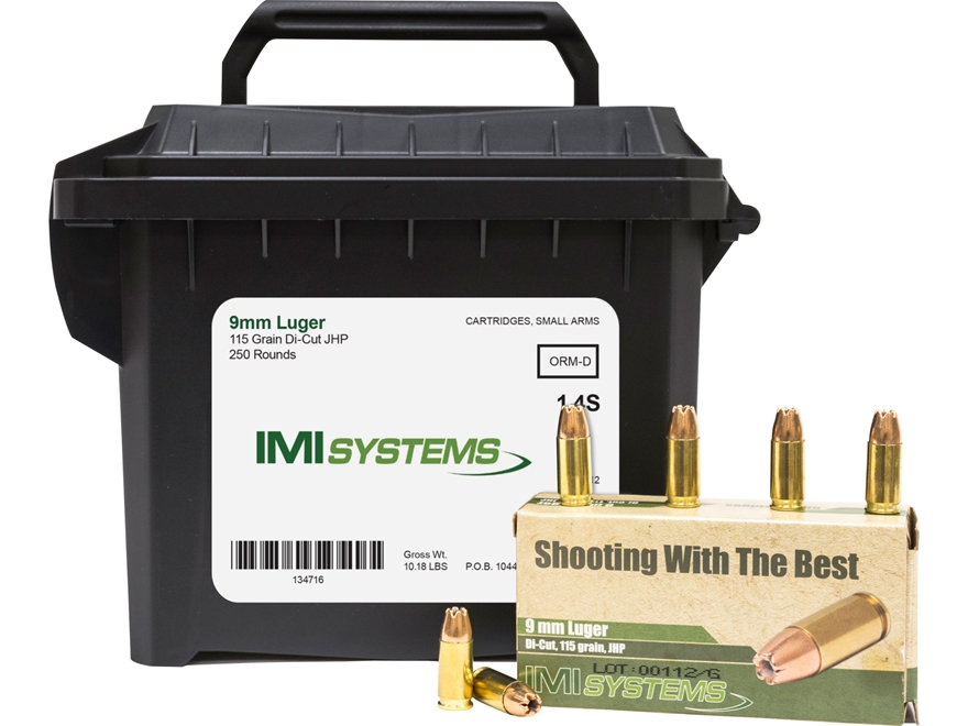 IMI Ammunition 9mm Luger 115 Grain Di-Cut Jacketed Hollow Point Ammo Can of 250 (5 Boxe...