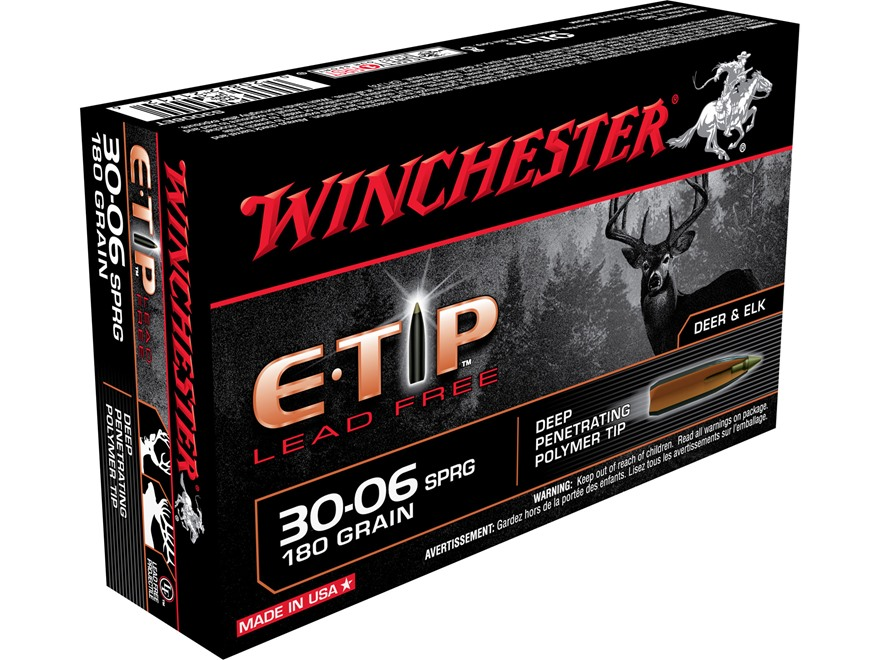 Winchester E-Tip Ammunition 30-06 Springfield 180 Grain Lead-Free Polymer Tip