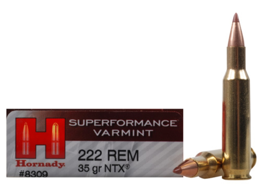 Hornady Superformance Varmint Ammunition 222 Remington 35 Grain NTX Lead-Free Box of 20
