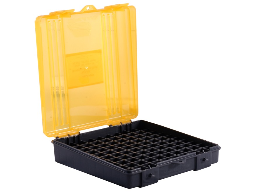 Plano Ammo Box 40 S&W, 10mm Auto, 45 ACP 100-Round Plastic Dark Gray and Clear Amber