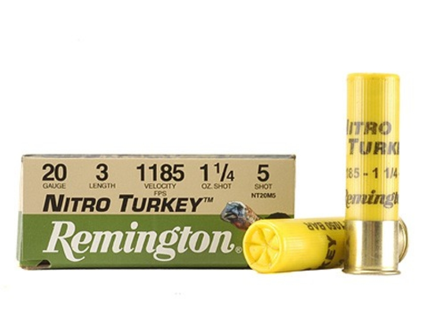 "Remington Nitro Turkey Ammunition 20 Gauge 3"" 1-1/4 oz of #5 Buffered Shot Box of 10"