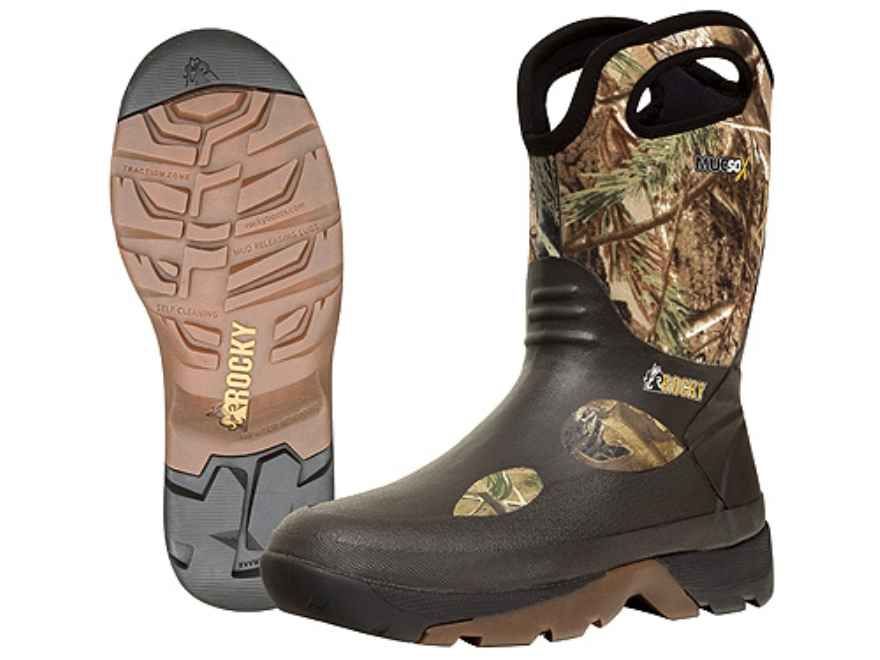 "Rocky MudSox 10"" Waterproof Hunting Boots Rubber and Neoprene Realtree AP Camo Men's 10 D"