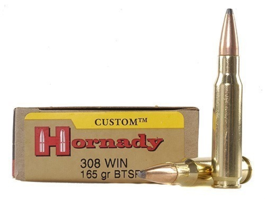 Hornady Custom Ammunition 308 Winchester 165 Grain InterLock Spire Point Boat Tail Box ...