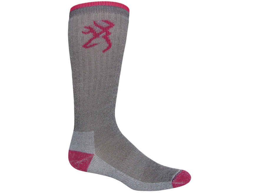 Browning Women's Ultimate Select Midweight Crew Socks Merino Wool Blend Gray and Fuchsi...