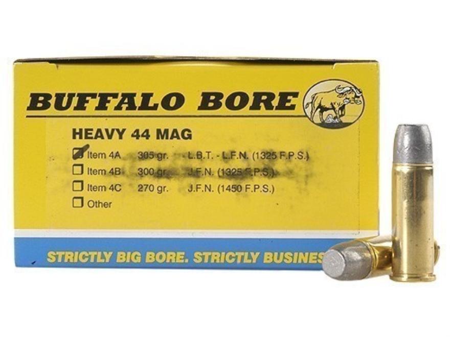 Buffalo Bore Ammunition 44 Remington Magnum 305 Grain Lead Long Flat Nose