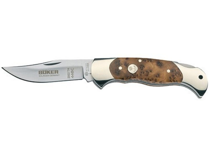 "Boker Thuya Wood Lock Blade Hunter Folding Pocket Knife 3.125"" Drop Point 440C Stainles..."
