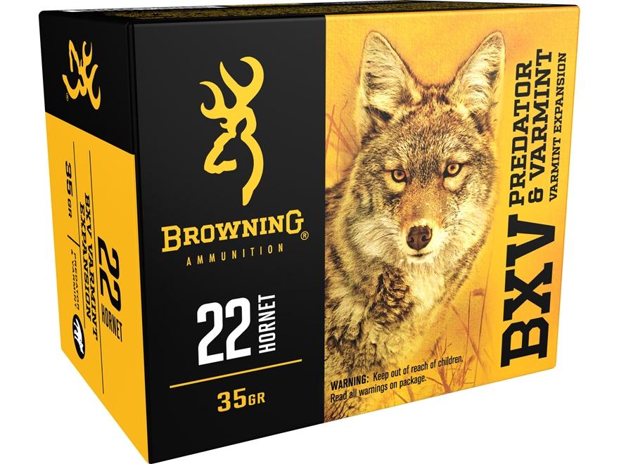 Browning BXV Varmint Expansion Ammunition 22 Hornet 35 Grain Polymer Tip Rapid Expansion