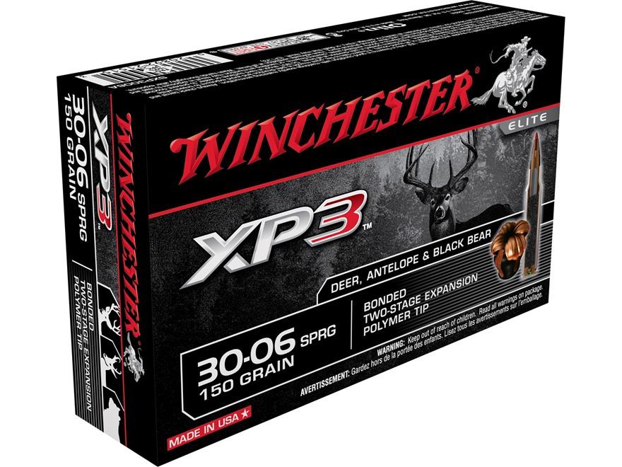 Winchester XP3 Ammunition 30-06 Springfield 150 Grain Bonded Polymer Tip
