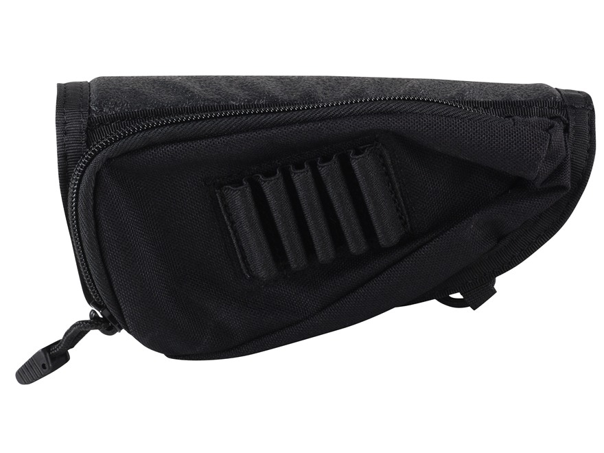 BLACKHAWK! Rifle Cheek Rest with Rifle Ammunition Carrier 5-Round Fixed Stock Nylon Black
