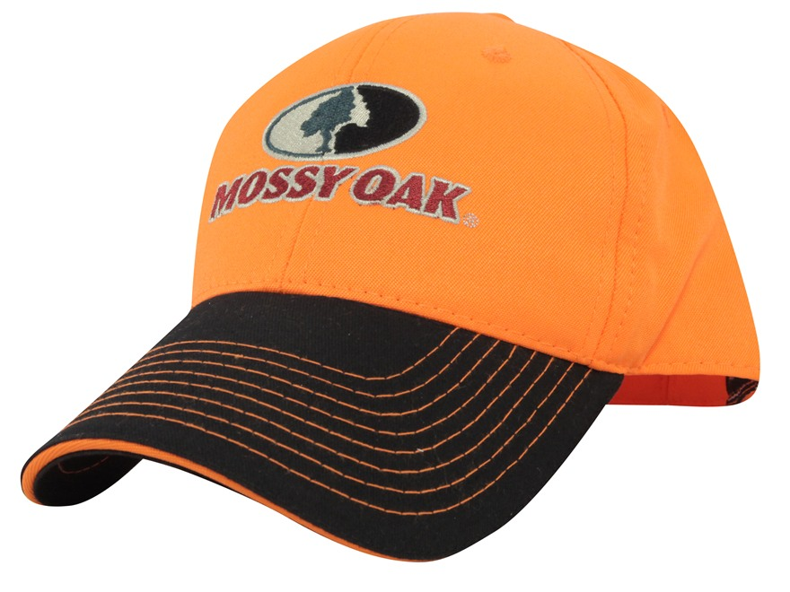 Mossy Oak Logo Cap Cotton Blaze Orange and Black
