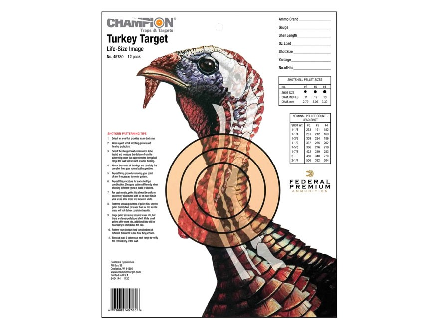 "Champion XRay Turkey Targets 11"" x 14"" Pack of 12"