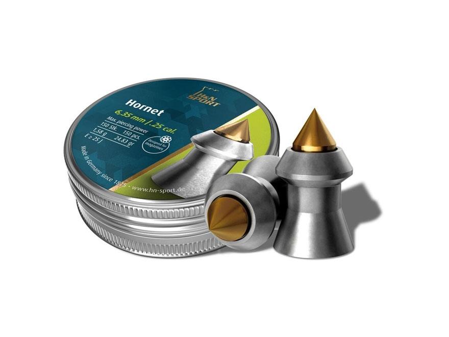 H&N Hornet Pellets 25 Caliber 24.38 Grain Pointed Tin of 150