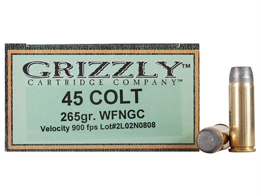 Grizzly Ammunition 45 Colt (Long Colt) 265 Grain Cast Performance Lead Wide Flat Nose G...