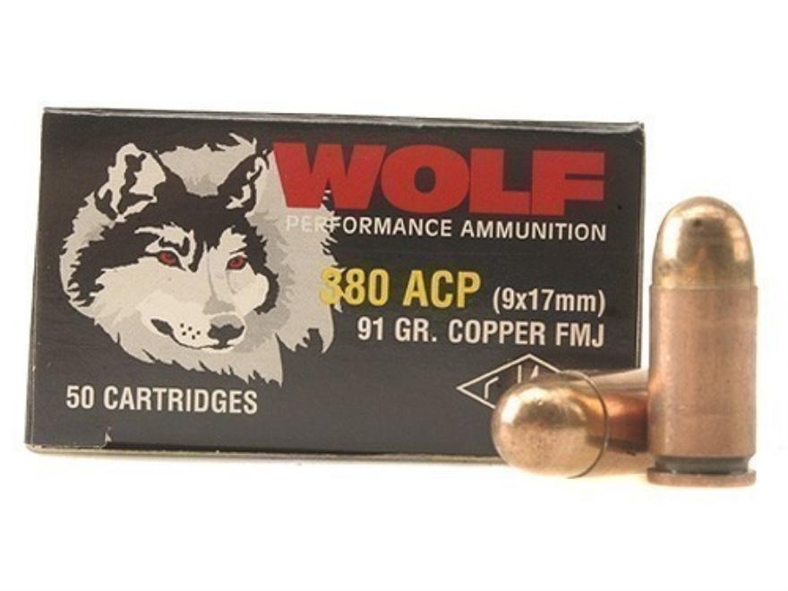 Wolf Ammunition 380 ACP 91 Grain Full Metal Jacket Steel Case Berdan Primed