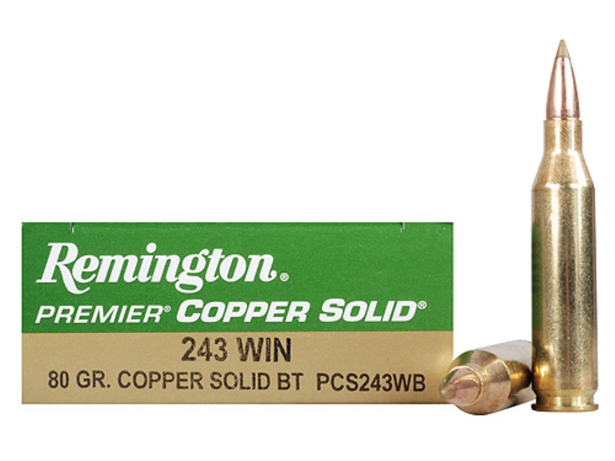 Remington Premier Ammunition 243 Winchester 80 Grain Copper Solid Tipped Boat Tail Lead...