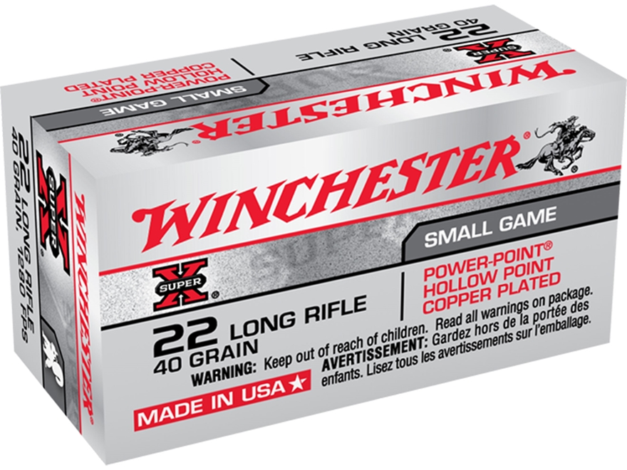 Winchester Super-X High Velocity Ammunition 22 Long Rifle 40 Grain Power-Point Lead Hol...