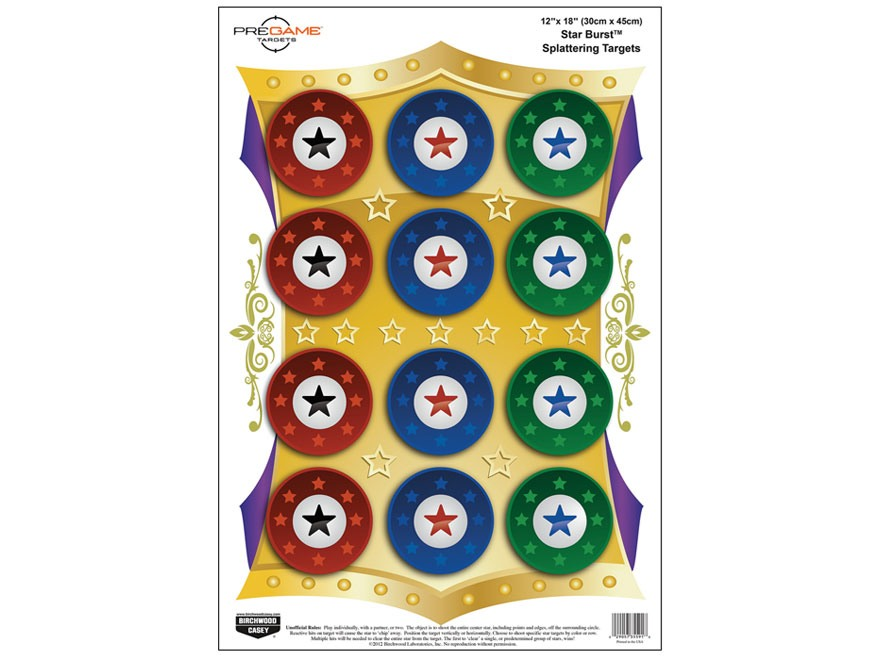 "Birchwood Casey PREGAME Starburst Reactive Target 12"" x 18"" Package of 8"