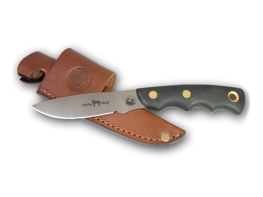"Knives of Alaska Alpha Wolf Drop Point Hunter Fixed Blade Hunting Knife 3.75"" D2 Blade"