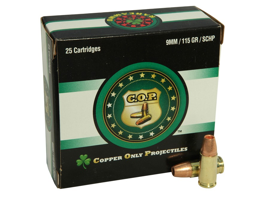 Copper Only Projectiles (C.O.P.) Ammunition 9mm Luger 115 Grain Solid Copper Hollow Poi...