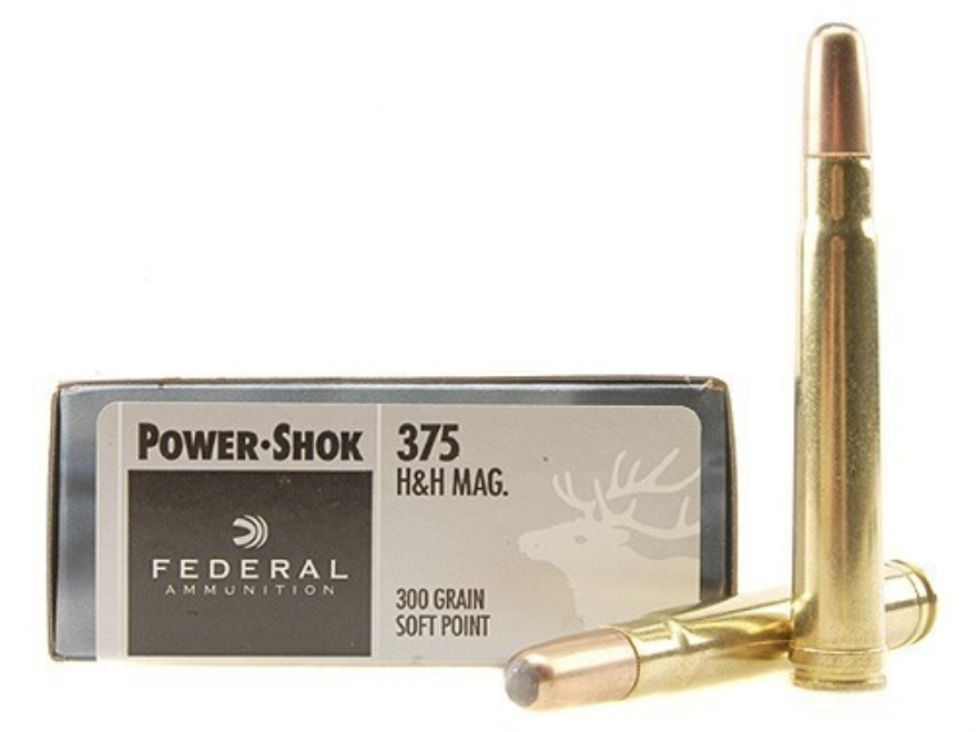 Federal Power-Shok Ammo 375 H&H Mag 300 Grain Soft Point