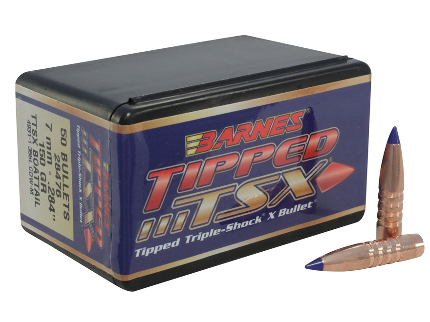 Barnes Tipped Triple-Shock X Bullets 284 Caliber, 7mm (284 Diameter) 150 Grain Spitzer ...
