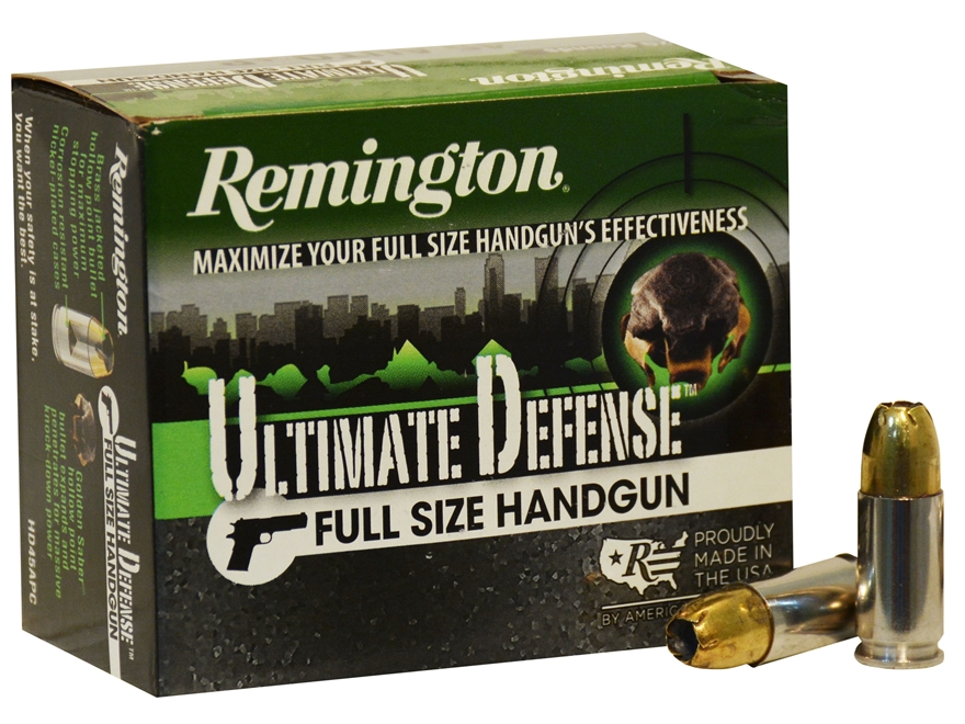 Remington HD Ultimate Defense Ammunition 9mm Luger 147 Grain Brass Jacketed Hollow Poin...