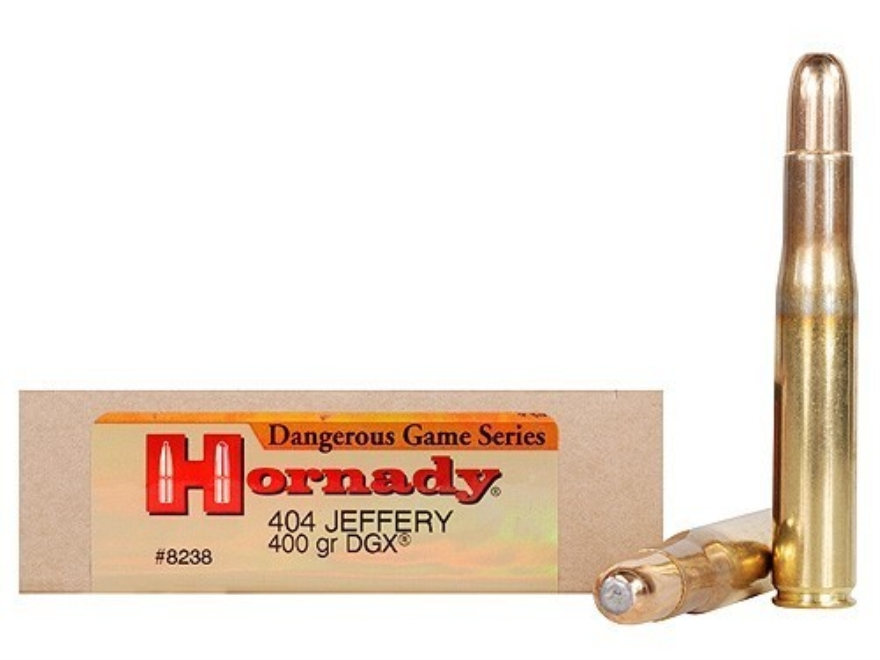 Hornady Dangerous Game Ammunition 404 Jeffery 400 Grain DGX Flat Nose Expanding Box of 20