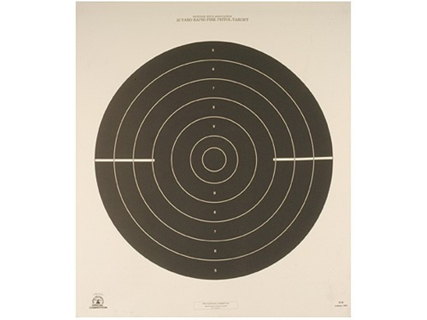 NRA Official International Pistol Targets B-38 25 Yard Rapid Fire Paper Pack of 100