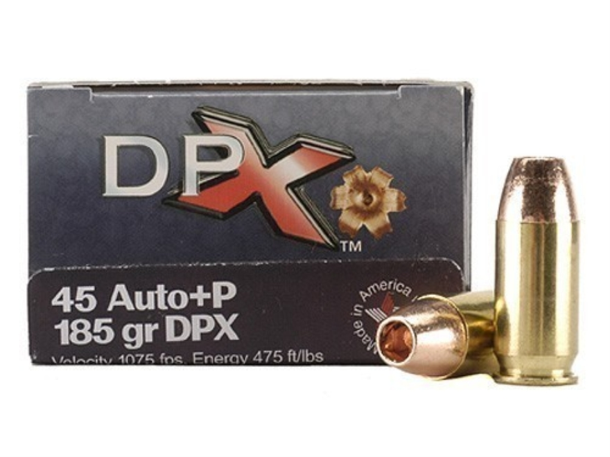 Cor-Bon DPX Ammunition 45 ACP +P 185 Grain DPX Hollow Point Lead-Free Box of 20
