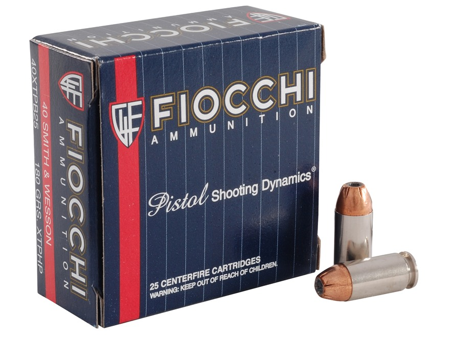 Fiocchi Extrema Ammunition 40 S&W 180 Grain Hornady XTP Jacketed Hollow Point Box of 25