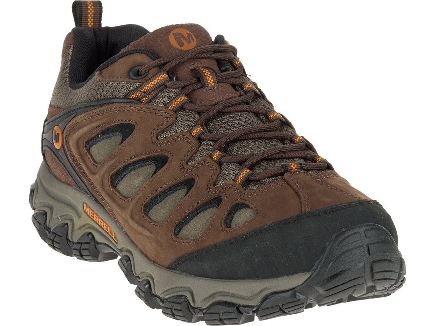 "Merrell Pulsate Low 4"" Hiking Shoes Leather and Suede Black/Bracken Men's"