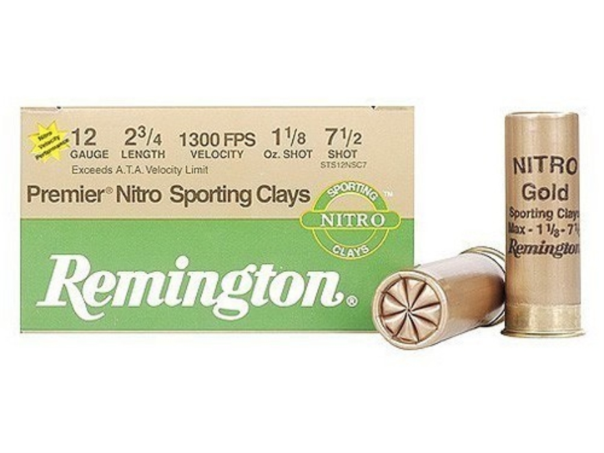 "Remington Premier Nitro Gold Sporting Clays Ammunition 12 Gauge 2-3/4"" 1-1/8 oz #7-1/2 ..."